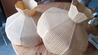Vintage lampshades large wicker effect