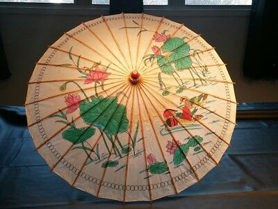 """Vintage 32"""" Oriental Bamboo~Rice Paper~Floral With Ducks Umbrella"""