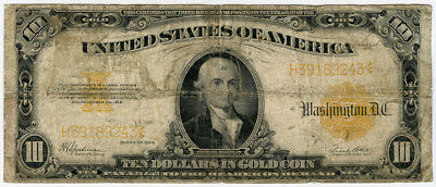 1922 ISSUE US. $10 GOLD CERTIFICATE LARGE SIZE NOTE. Fr.#1173.