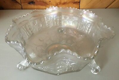 "Carnival Very Rare ""White"" Old Fenton Butterfly And Berry Master Berry Bowl"