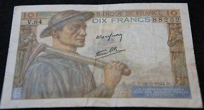 1944 France 10 Francs Bank Note in Good Condition Nice Old Collectible Note!