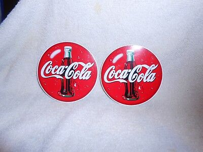 Coca-Cola Peel & Stick Decals--Lot of 2-- about 2 3/4 inches Round
