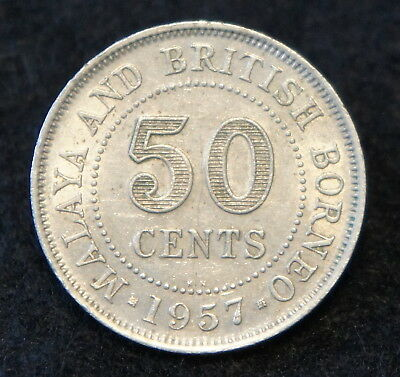 1957KN Malaya & British Borneo 50 Cents EF Condition Very Collectible Coin!