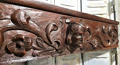 Hand Carved Wood Pediment Antique French Oak Gothic Figure Architectural Salvage