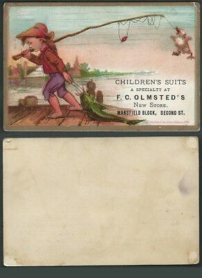 1800's Victorian Advertising TRADE CARD Boy Fishing Children Suits Clothing