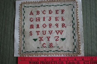 Antique Alphabet Sampler, early 20th Century, Purchased in France, signed C. R.