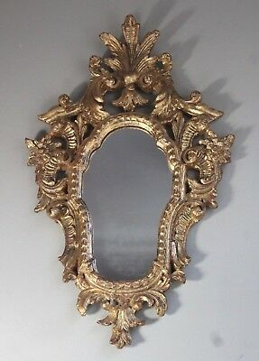 Vintage Mid 20thC Italian Gold Gilt Carved Wood Rococo Wall Mirror w/Orig. Label