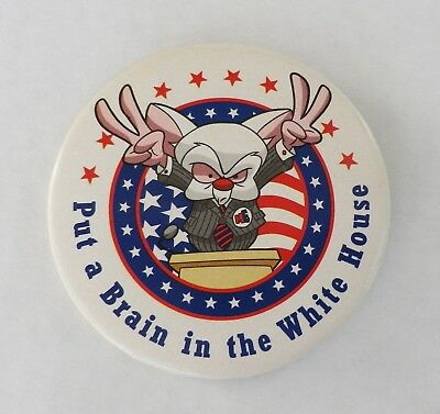 "RARE "" Put a Brain in the White House "" Pin  Pinky and the Brain '96 WB Studio"