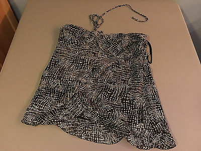 NEW Womens Sexy THE LIMITED Black/White Animal Print Halter Silk Top SIZE LARGE