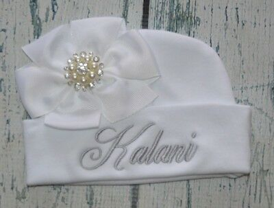 fab0cc292 PERSONALIZED BABY GIRL Hat with White Bow Rhinestone Center, Monogrammed  Beanie