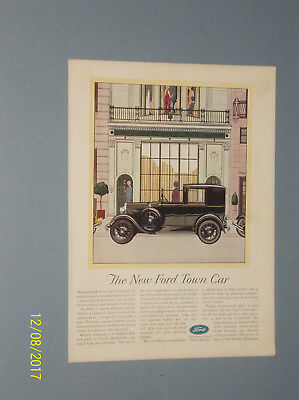 1929 Ford Town Car Ad Chauffeur Compartment W/ Glass Partition Art Deco Ad