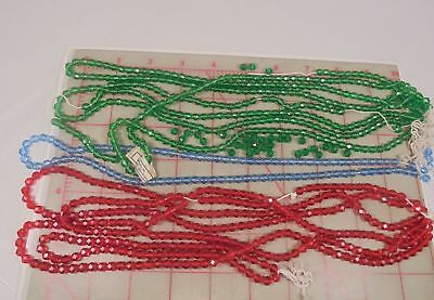 800+ Vintage Faceted Glass Beads Red Blue Green 5mm Western Germany