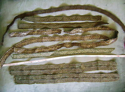 Antique Lot Of Assorted Gold And Silver Metallic Braid Trims For Repair Or Dolls