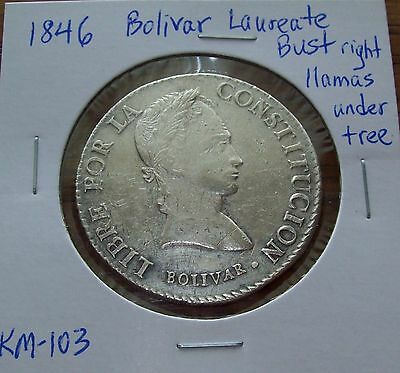 1846 Bolivia Silver 8 Soles Bolivar Laureate Bust KM#103 LLAMAS under Tree Coin