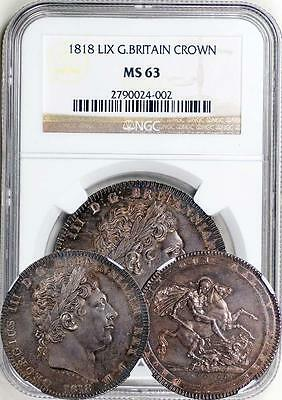 Great Britain 1818 LIX George III Silver Crown NGC MS-63