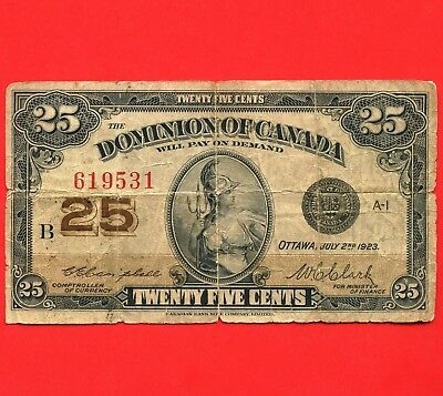 1923 Dominion Of Canada 25 Cent ( Shinplaster ) Bank Note S/N B 619531