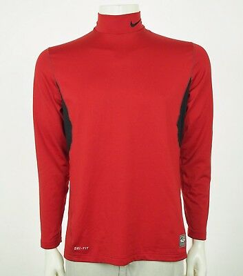 Nike Pro Combat Dri-Fit Fitted Red Athletic Gym Training Shirt Sz Large