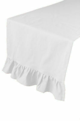 New French Country Shabby Cottage Chic WHITE RUFFLED Ruffle Table Runner 36""