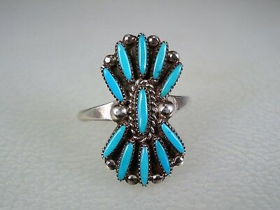 VINTAGE ZUNI STERLING SILVER & NEEDLEPOINT TURQUOISE CLUSTER RING sz 8