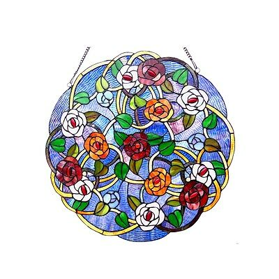 """~LAST ONE THIS PRICE~  Tiffany Style Roses Stained Glass 24"""" Round Window Panel"""