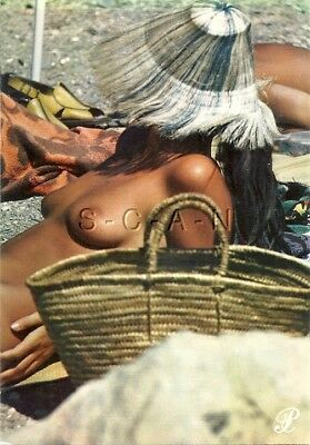 Original Vintage French Nude Risque PC- Woman Sun Tanning on Beach- Floppy Hat