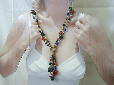 Vintage 1980s BEADED CRYSTAL BRONZE DOUBLE STRAND & DROP NECKLACE Multi-Color