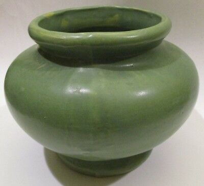 Vintage Antique Art Pottery Arts & Crafts Mission Matte Green Stoneware Vase UID