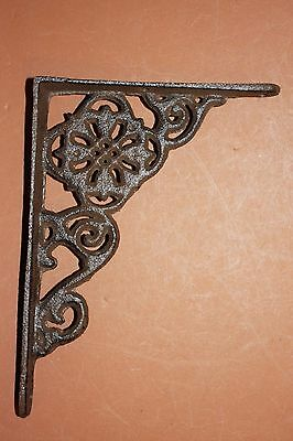 Small Rustic Garden Shelf Brackets, Antique-look Flower Design, Cast Iron, B-11