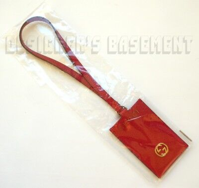 GUCCI red SWING pebbled leather gold Interlocking G hanging ID Tag Authentic!