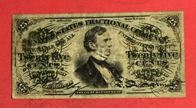 """1869 US Fractional Currency """"TWENTY FIVE CENTS"""" VG! Hard to Find! Currency"""