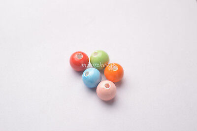 5pc 15*16mm Mixed Candy Colors Porcelain Ceramic Charm Loose Spacer Beads Lot