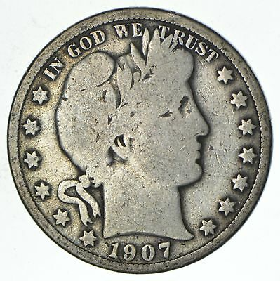 50c United States Coin - 1907 Liberty Barber 90% Silver US Half Dollar *475
