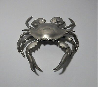 Antique Solid Nickel Plated Brass Crab Inkwell with Original Glass Insert