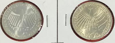 1973G & 1973J Choice Uncirculated Germany SILVER 5 Marks SEt of 2! Old Coins!