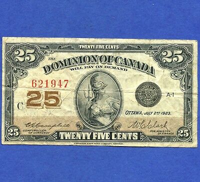 1923 Dominion Of Canada 25 Cent ( Shinplaster ) Bank Note S/N C 621947