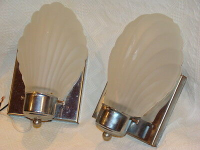 VINTAGE PAIR CLAM SHELL SCALLOP ART DECO ELECTRIC WALL SCONCES Glass & Chrome