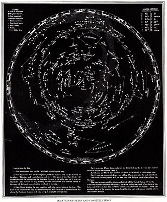 1939 Vintage STAR and CONSTELLATION Map Chart Antique ASTRONOMY Print  4755