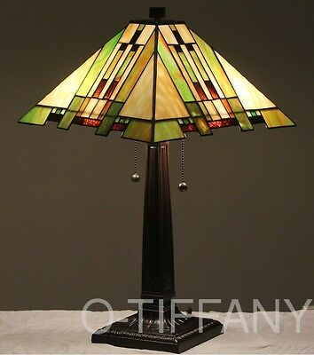 """Tiffany Style Stained Glass Mission Lamp """"Aspen"""""""