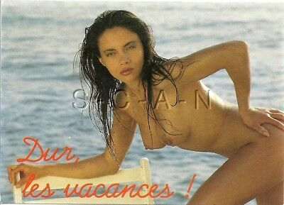 Original Vintage French Nude Risque PC- Wet Hair- Woman Bends over Beach Chair