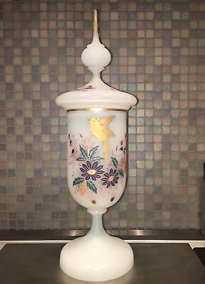 Rare Large Tall French Antique White Opaline Glass Apothecary Jar - HP Enamel