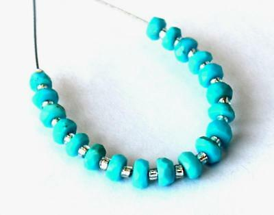 Arizona Sleeping Beauty Turquoise Beads Faceted Rondelle 3 - 3.5Mm 19Pcs #d10607