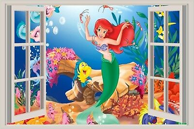 The Little Mermaid 3D Window View Decal WALL STICKER Art Mural Disney Ariel 2