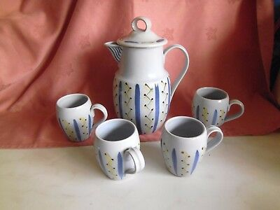 Buchan pottery coffee pot and 4 mugs. HEBRIDES