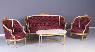 TABLE AND CHAIRS baroque lounge suite sofa chair table barockmöbel Red Gold