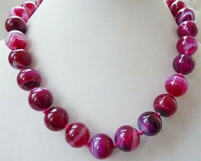 """Fashion Natural Red Striped Agate Round Gemstone Beads 6-12mm Necklace 18"""" AAA"""