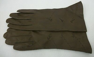 Vintage Brown Leather Gloves Bow Details Womens Size 7 Italy - Bemberg Lined