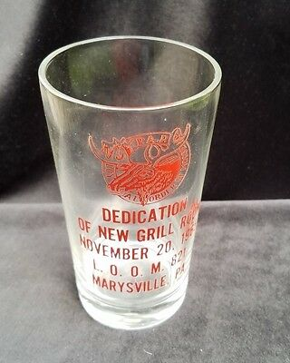 1965 Souvenir Glass Dedication New Grill Room Loyal Order Moose Marysville PA