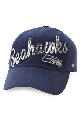 pretty nice 3a356 2fb30 Seattle Seahawks Women s 47 Brand Clean Up Adjustable NFL Football Hat  Sequins