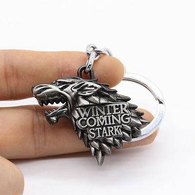 Game of Thrones House Stark Winter Is Coming 3D silver Metal Key chain ring