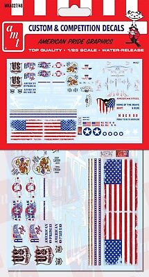 AMT #27 All American Graphics Custom Decals Red White Blue Flag waterslide 1/25